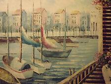 Mar Mediterráneo Vista Puerto Barcos Grandes Pintura al Óleo Lienzo Arte Moderno Océano
