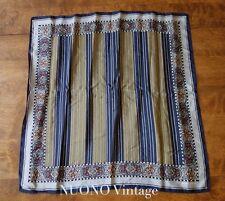"vintage Ellen Tracy scarf 20"" x 21"" striped paisley designer  blue green"