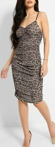 New Stunning SilkFred Swan P Size 12 - 14 Ruched Leopard Midi Dress Party Wiggle