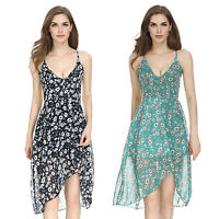 Summer Women Boho Floral V Neck Strap Short Mini Swing Dress Evening Party Beach