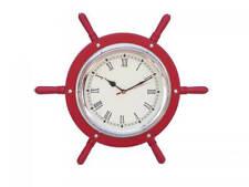 "Wooden Red and Nickel Ship Wheel Clock 15"" - Nautical Wall Clock - Metal Ship Wh"