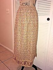 Sag Harbor Skirt Sz M A-Line Maxi Side-Slit Lined Abstract Pattern Boho Fall