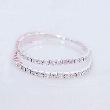 Women Tennis Rhinestone Crystal Silver Wedding Bridal Stretch Bracelets Bangle White