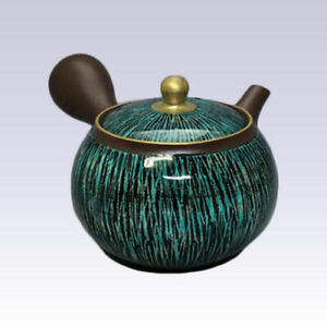 Tokoname Kyusu teapot - SHUNJYU - Green & Black Line - 190cc/ml - Ceramesh