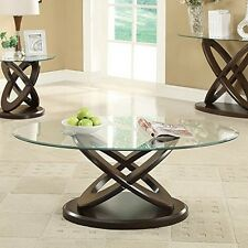 Coaster 702788 Glass Top Round Coffee Table In Espresso NEW