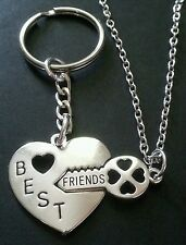 New BFF Best Friends Silver Tone Metal Heart & Key Necklace and Keyring Set.