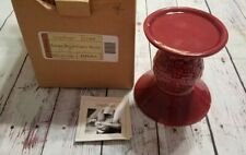 "Longaberger Paprika Red Pillar Candle Holder Pottery 31454 Woven Pedastal 5"" Nib"