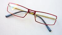 Brillengestell Brille Fassung rot schmal eckig ausgefallen stabil Metall Größe M