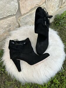 RED Valentino Black Heeled Booties Suede Size 39.5