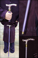Purple JOKER CANE, Wooden walking stick, Costume Prop Cosplay Comic Con