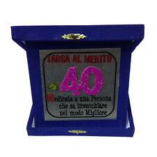 40 ANNI targa degli auguri compleanno blu glitter 14x14 cm made in italy