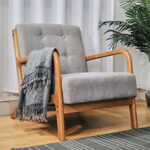 Occasional Wooden Frame Armchair Deep Button Padded Lounge Tub Chair Sofa Fabric