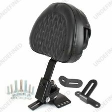 Adjustable Black Plug-In Diamond Driver Rider Backrest For Harley FLTR FLHX FLHR