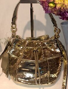 NWT! COACH POPPY SEQUIN CINCH DRAWSTRING B4/GOLD HOBO BAG 17906