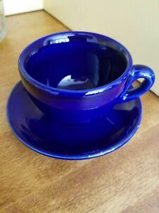 Crate & Barrel Espresso Demi-Tasse Cups and Saucers Set of 8 Dark Blue
