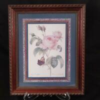 Vtg Pink Rose Art Print Rosa Centifolia P. J. Redoute Langlois Framed and Matted