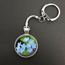 Forget Me Not Flower Pendant On A Snake Keyring Ideal Birthday Gift N925