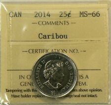 2014 Canada 25 Cents  ICCS MS 66 Caribou #8380