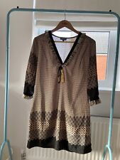 Queenie Paris Boho Geometric Fringe Tassel V-Neck Dress Tunic Cover Up 4 14-16