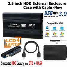 "USB 3.0 SATA Hard Drive Enclosure HDD 2.5"" inch External Case Caddy UK - Black"