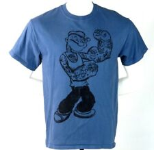 Popeye Sailor Man T Shirt Men's Medium Cartoon Tattoo Blue Crewneck Cotton M Tee