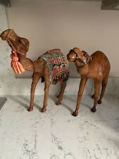 More details for pair of vintage leather camel figurines large size with glass eyes vgc