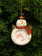 GLITTERED SNOWMAN MAGNETIC PICTURE FRAME CHRISTMAS TREE ORNAMENT