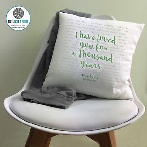 Christina Perri Thousand Years Personalised Cushion 2nd Cotton Anniversary Gift