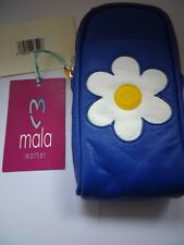 Mala leather zip top glasses case style Molly  Colour blue with white flower new