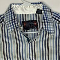 English Laundry Mens Designer Flip Cuff Shirt LS Blue White Striped Medium