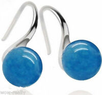 Natural 10mm Round Blue Jade Pretty 925 Sterling Silver Hook Earrings Jewelry