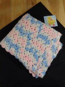 "Baby Blanket Afghan 46"" x 29"" Handmade Crotchet Blue Pink White"