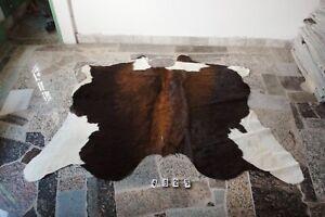 EXOTIC BROWN-  Rug HAIR ON SKIN  Leather Cowhide Rug  4625-    62'' x  70''