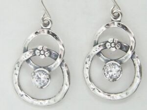 New Unique 925 Sterling Silver Earrings White CZ White Didae Shablool