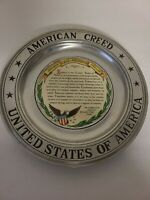 """Vintage Wilton Pewter American Creed United States Of America 11"""" Plate EUC"""