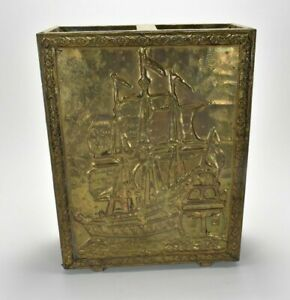 Antique Vintage Embossed Brass Wood Umbrella Stand-Sailing Ship Scene Lion Head