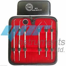 YNR Dental Pick Tool Kit Dentist Professional 6pc Set Leather Storage Case New