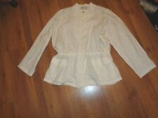 MARINA RINALDI PURE LINEN WHITE LAGENLOOK ZIPPED JACKET WITH POCKETS-SIZE 27