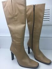 Ladies *NEW* NEXT Knee High Leather Camel Square Toe Heel Boots Size 5