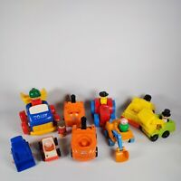 Fisher price Vintage Little People and 9 Vehicles cars digger mixed bundle