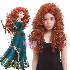 Brave Princess Merida Red Brown Orange Curly Wavy Long Cosplay Full Wig USA Ship