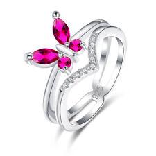 Butterfly Fashion Ruby & Sapphire & Pink White Topaz Gemstone Silver Ring Sz 6-9
