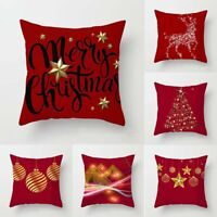 Pillow Christmas Cover Case Xmas Decor Festive Gift Throw Linen Home Cushion