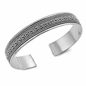 TreasureBay Men's Solid 925 Sterling Silver Bangle Bordered Braid Design TBS09