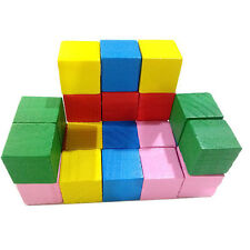 20pcs 2cm Wooden Stacking Up Building Blocks Square Cubes Kids Educational Toys