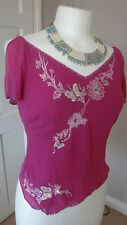 Gorgeous  F&F Ladies 100% Silk Embellished top Size UK 8