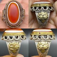 Wonderful unique solid silver Agate eye stone Lucky Ring