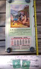 Antique History West Virginia Calendar Bluefield A.W. COX Ephemera 1 Cent Stamp