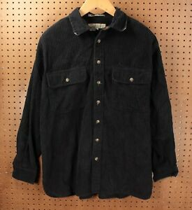vtg Claybrooke wide wale corduroy shirt jacket LARGE black 90s 00s y2k