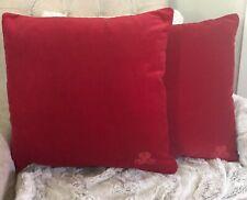 RALPH LAUREN HOME RED VELVET MONOGRAM PAIR OF THROW PILLOWS